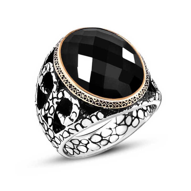 خاتم رجالي من Tevuli مصنوع من الفضة الإسترلينية عيار 925 ومرصع بحجر الزريكون الأسود