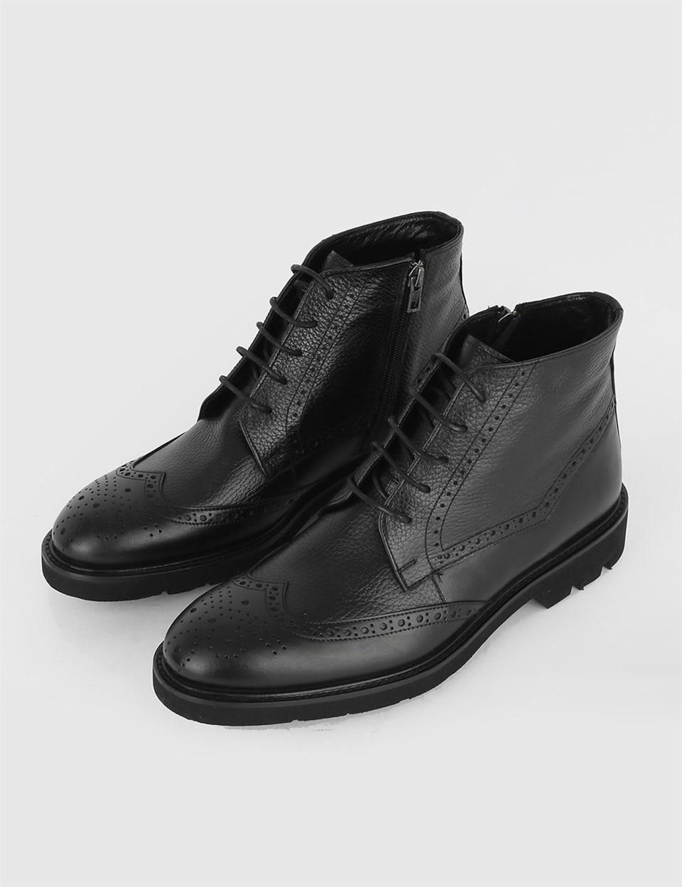 ILVi-جلد طبيعي صناعة يدوية Dyna حذاء جلد أسود للرجال BootMen خريف وشتاء 2020
