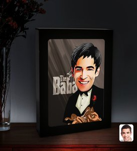 Personalized Dad Godfather Caricature Of Led Lighted Wood Picture Çerçevesi-5