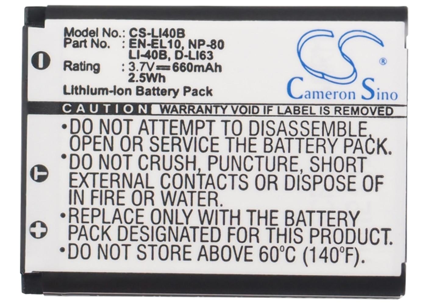 Аккумулятор Cameron Sino 660 мА для Nikon Coolpix S230,Coolpix S3000,Coolpix S4000,Coolpix S500,Coolpix S510