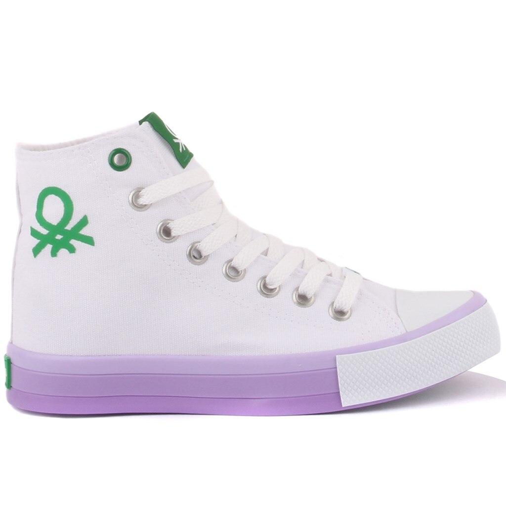 بينيتون-أبيض اللون الدانتيل متابعة المرأة حذاء رياضة