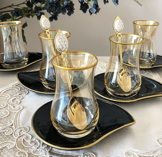 فنجان شاي مجموعة لوكس فريق مذهب لوحة الاستخدام اليومي Lusterware الشاي الأواني الزجاجية مجموعة صينية الشاي إبريق نظارات على شكل أكواب 12 قطعة