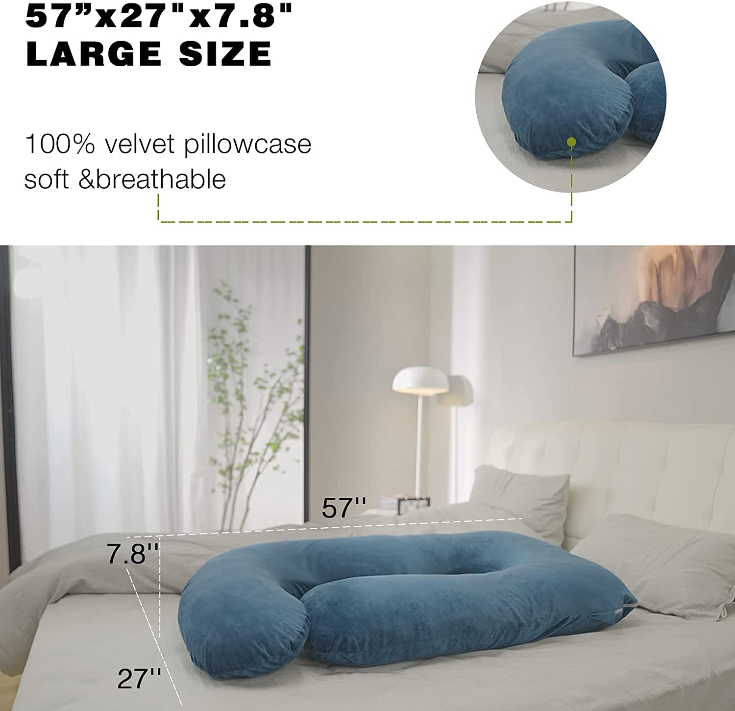 Pregnancy Pillow with 2 Velvet Cover, Rukoy Pregnancy Body Pillow for Side Sleeping, U Shaped Maternity Pillow for Belly enlarge