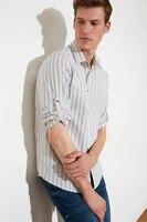 trendyol mens slim fit long sleeve epaulets shirt tmnss21go0436