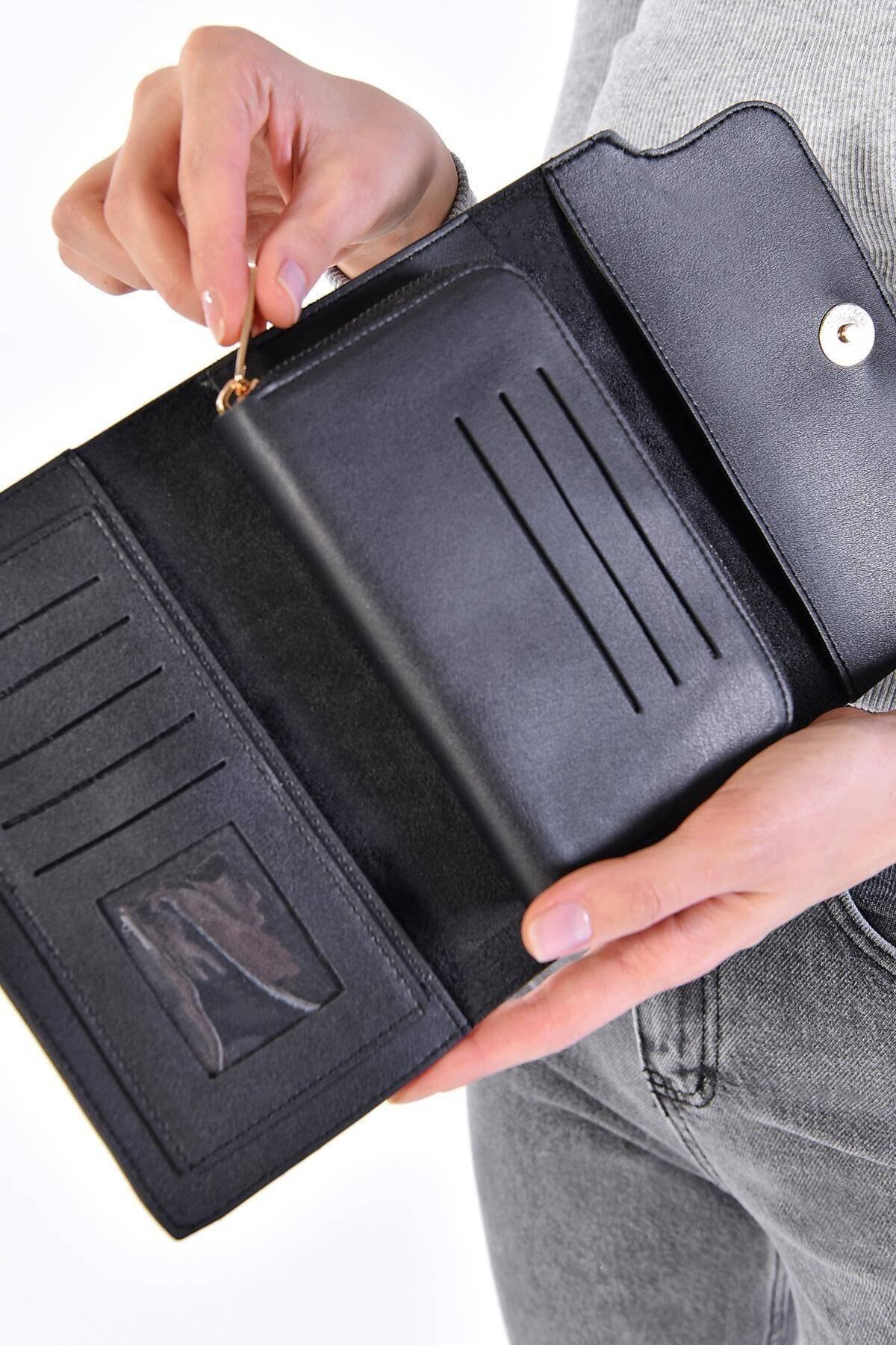 Женский черный кошелек, женский короткий кошелек, Женский кошелек для монет, модный кошелек, женский маленький кошелек с держателем для кар...