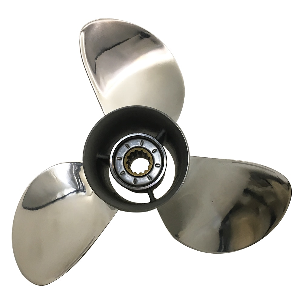 Boat Propeller 9 1/4x10 for Suzuki 9.9HP-15HP 3 Blades Stainless Steel Prop SS 10 Tooth RH OEM NO: 58100-93733-019 9.25x10 enlarge