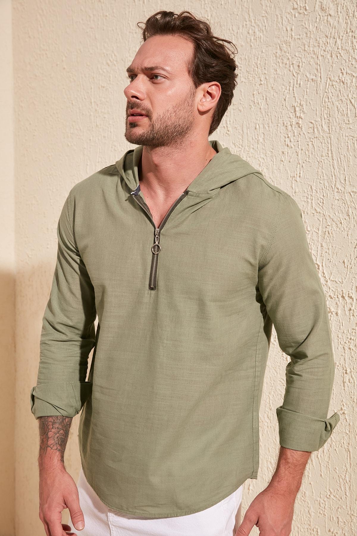 Trendyol Male YarımPat Zipper Hooded Shirt TMNSS20GO0098