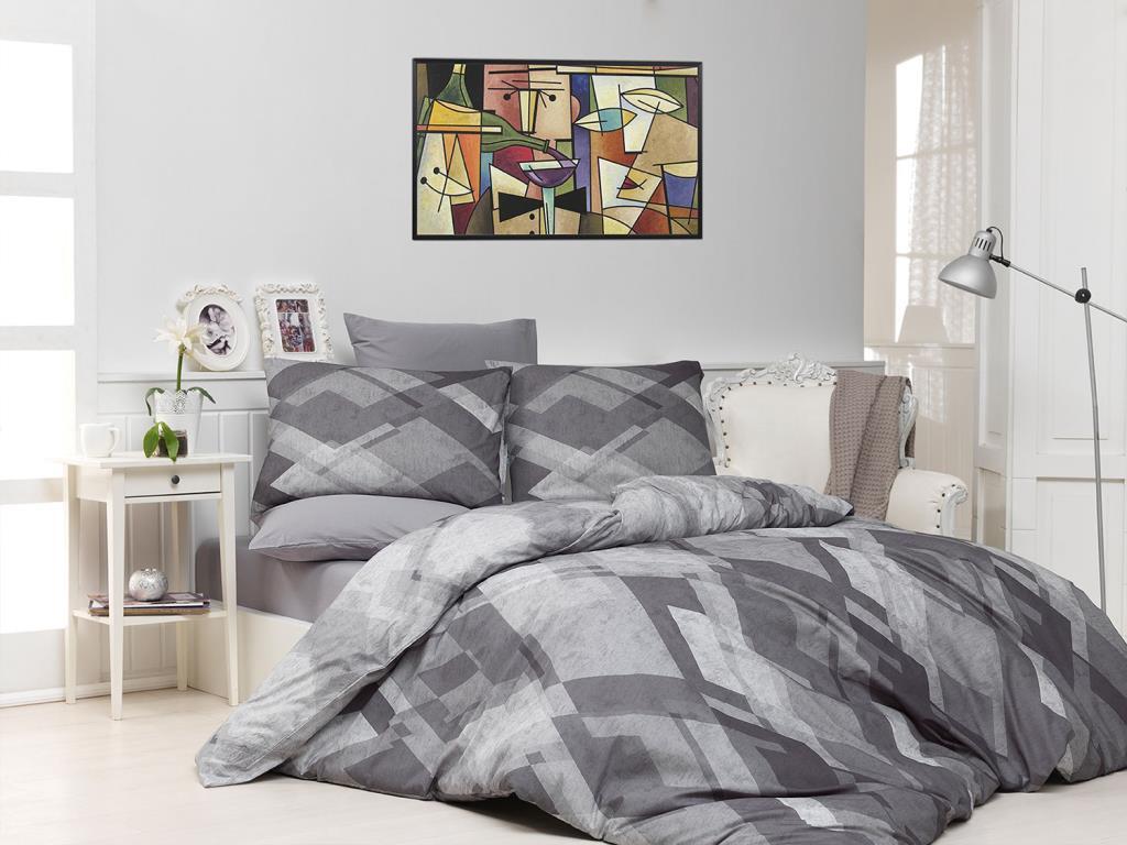 Majoli-طقم غطاء لحاف بتصميم فسيفساء ، غطاء لحاف مزدوج الشخصية ، رمادي