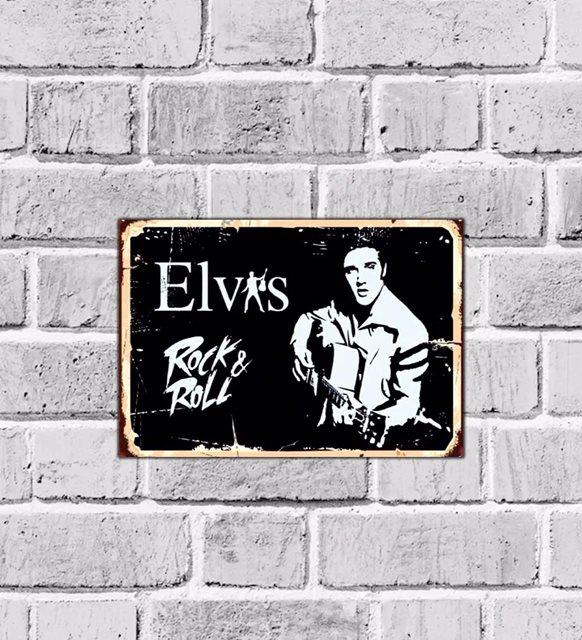 Elvis Presley Rock'n Roll'un King Music-Guitar-Retro Wooden Wall Table Model-498