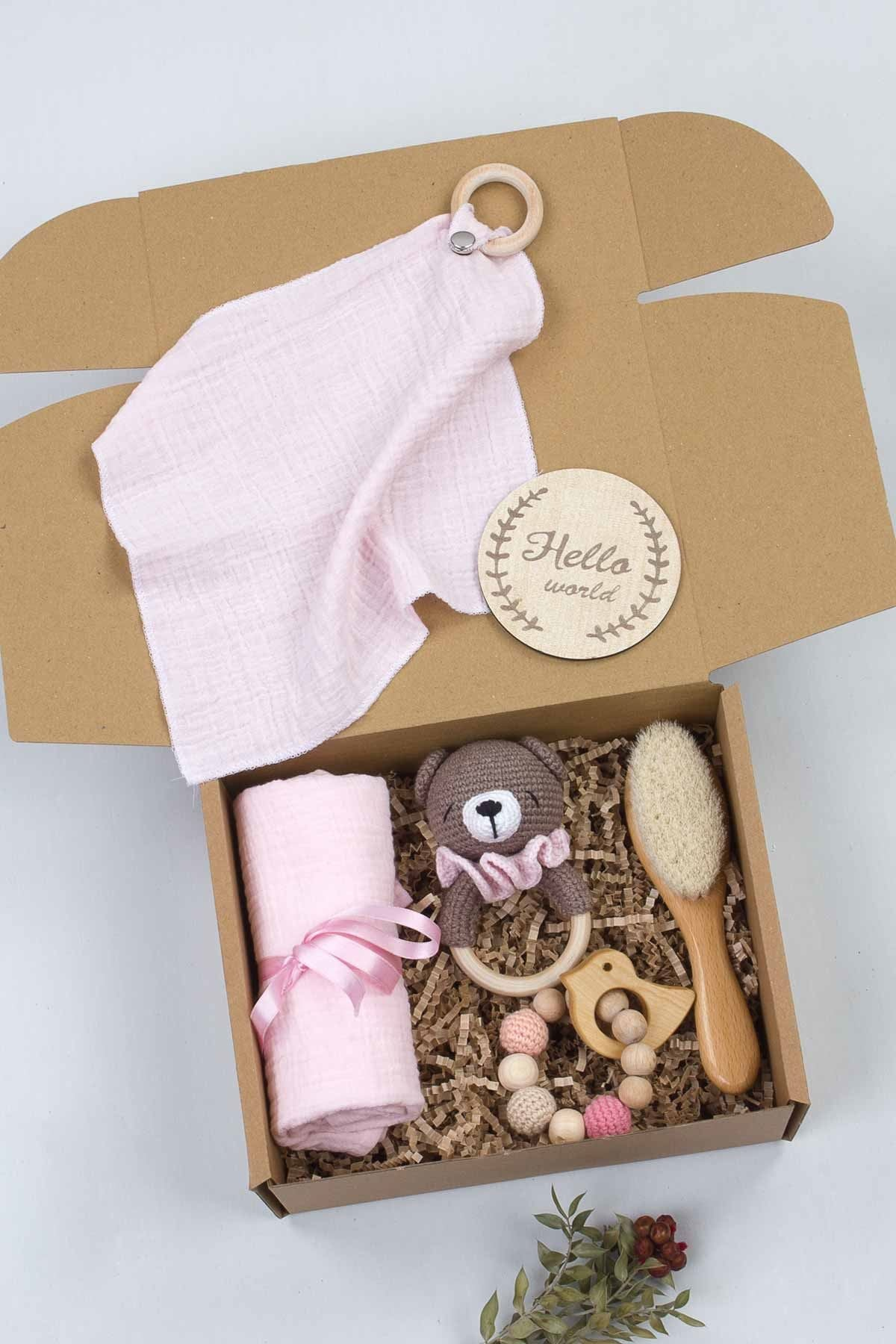 Baby New Born Gift Box Handmade Organic Rattle Teether Blanket Mouth Wipes Special Babies 6 Pcs Mother Birth Hospital Gift sets