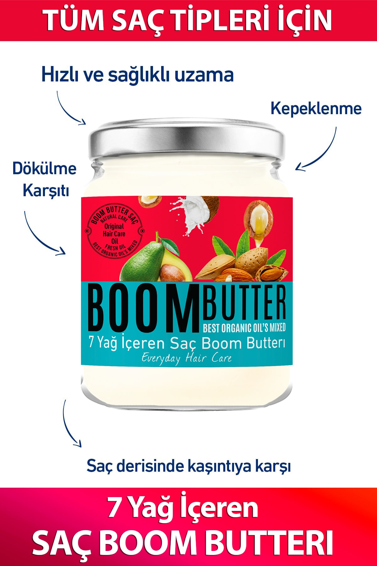 Boom Butter Hair Care Oil 190 ml organic for All hair types feeding unisex product