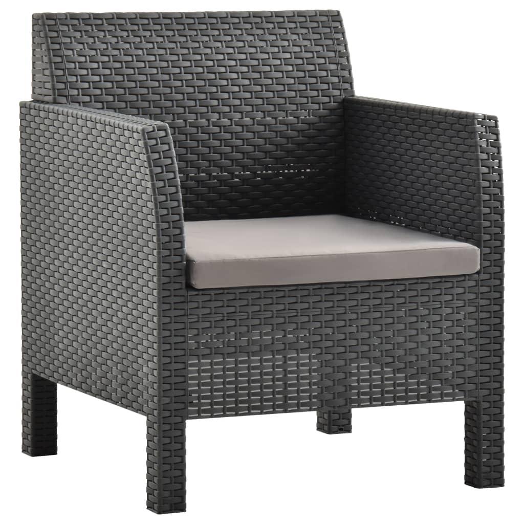 Наружные поворотные стулья для патио, палуба, крыльцо, комплект наружной мебели, Балконный стул с подушкой, ПП Антрацит