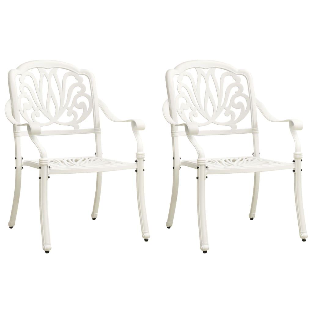 Уличные стулья для патио, палубный террасный комплект мебели для улицы, стул для балкона, 2 шт. из литого алюминия, белый