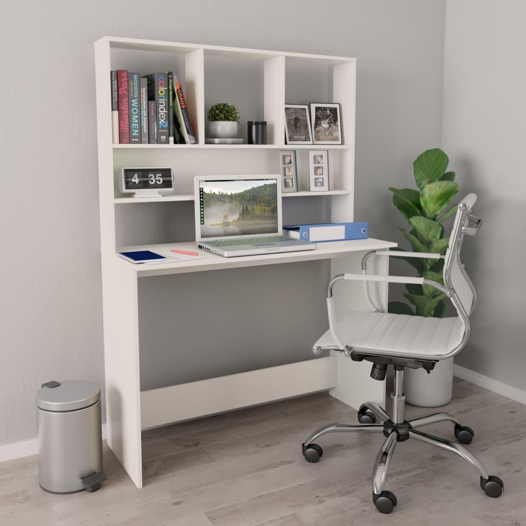 Desktop with shelves White 110x45x157 cm chipboard недорого