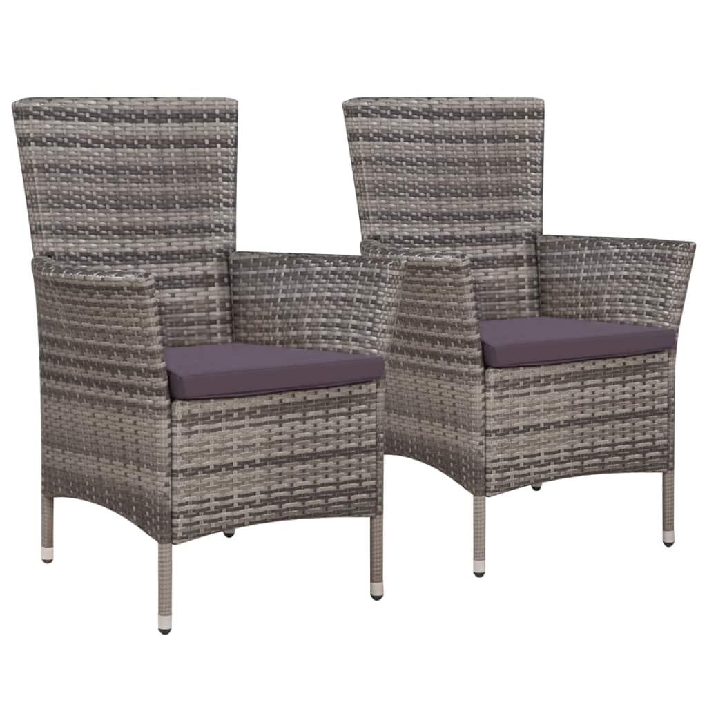 Уличные стулья для патио, комплект уличной мебели, декор для шезлонга, 2 шт. с подушками, поли ротанговый серый