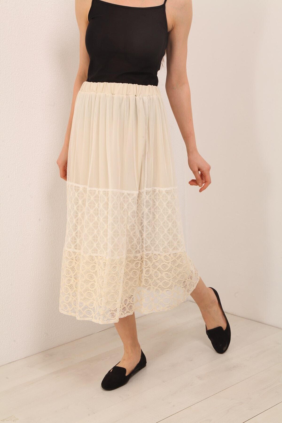 Women's Beige Old Lace Tulle Skirt Women Skirt Fashion Casual Sport