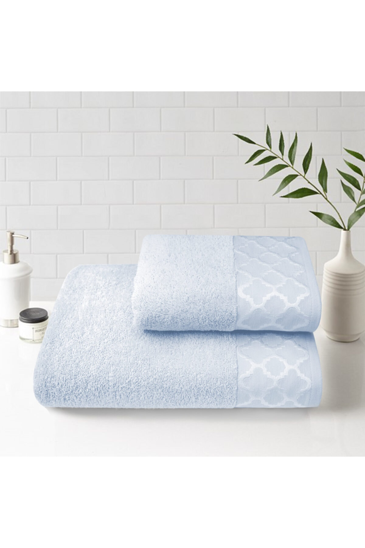 2'li Bath Towel Set, Elegant Modern Dowries Towel Set; large 140x70cm Small 90x50cm