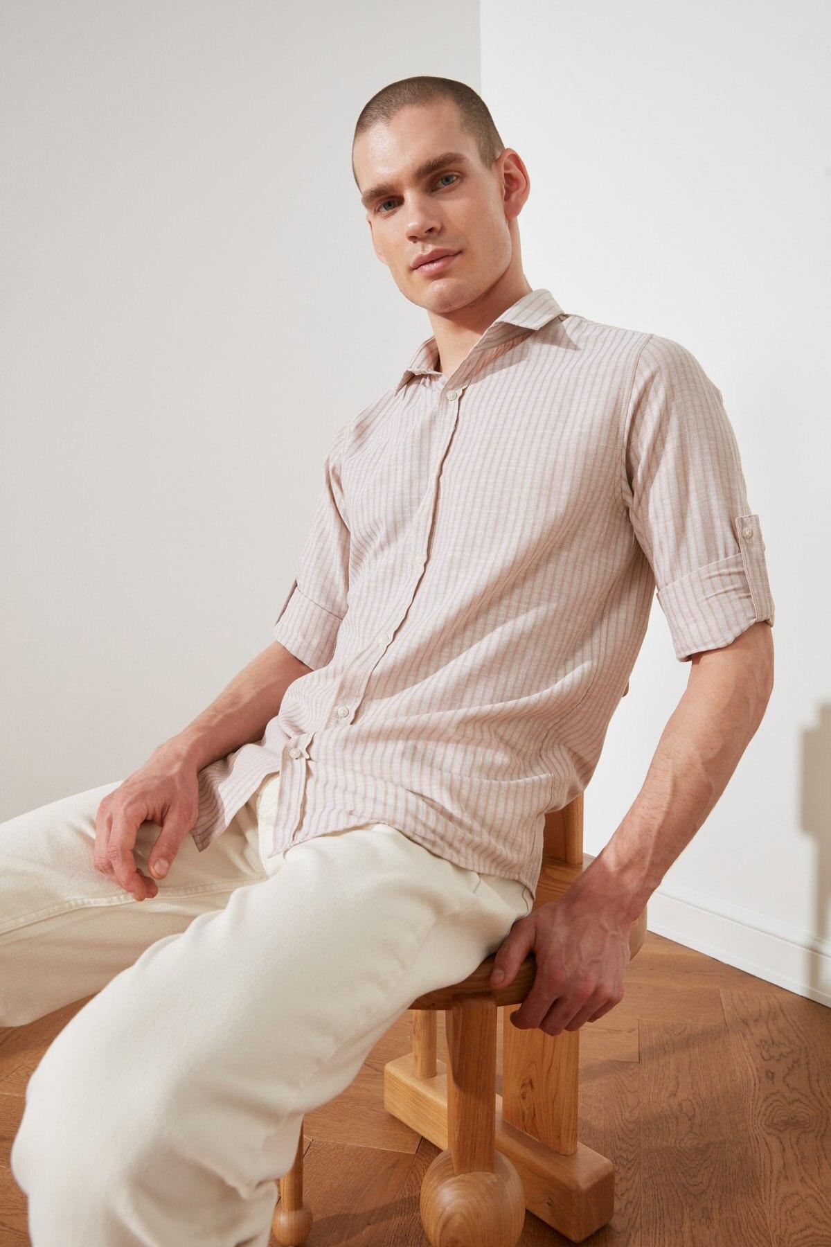 Trendyol мужской воротник рубашки Slim Fit погоны рубашка TMNSS20GO0489