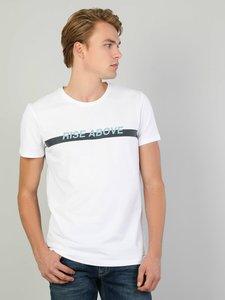 Colins Men Slim Fit White Short SleeveTshirtMen's Tshirt Fashion Man Tshirts ,CL1046325