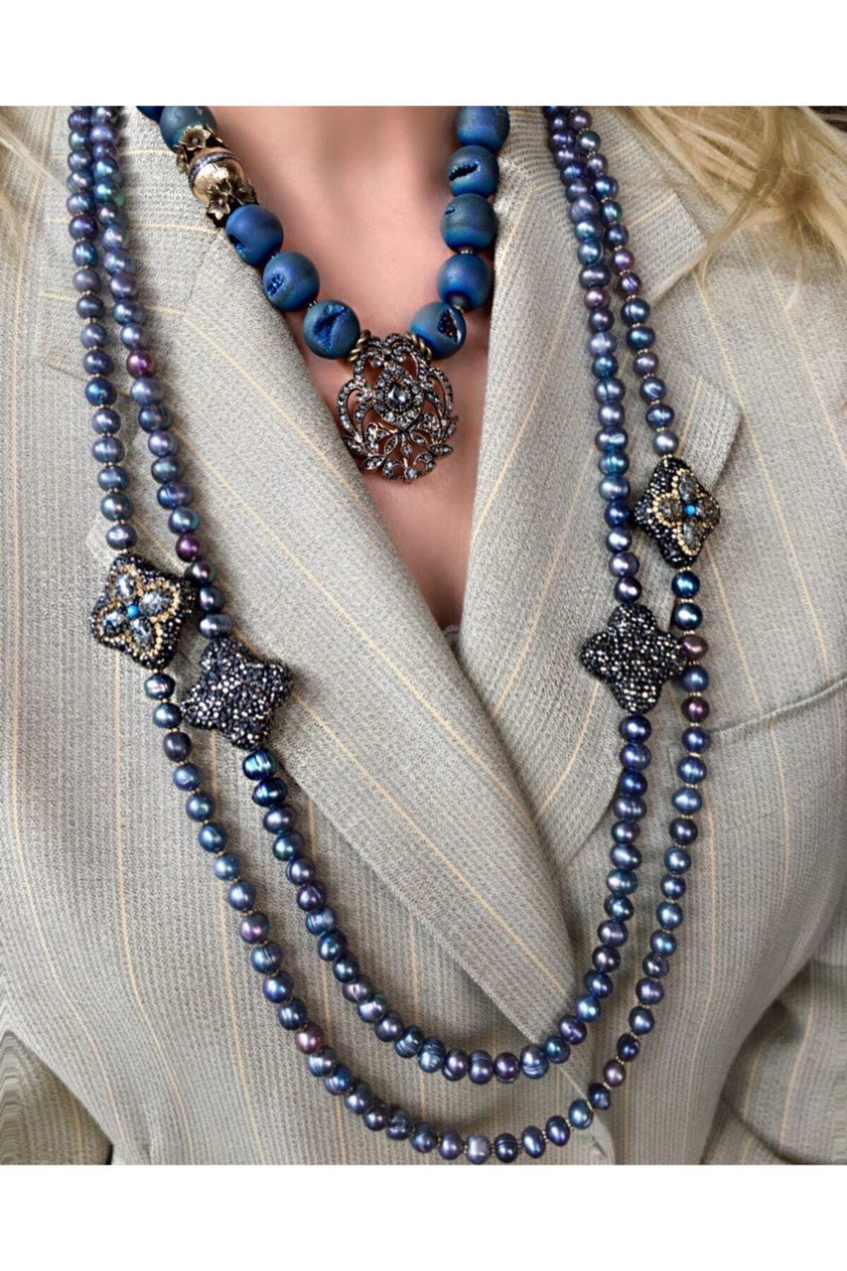 مجوهرات الأزياء النسائية اللؤلؤ الأسود قلادة طويلة مجموعات