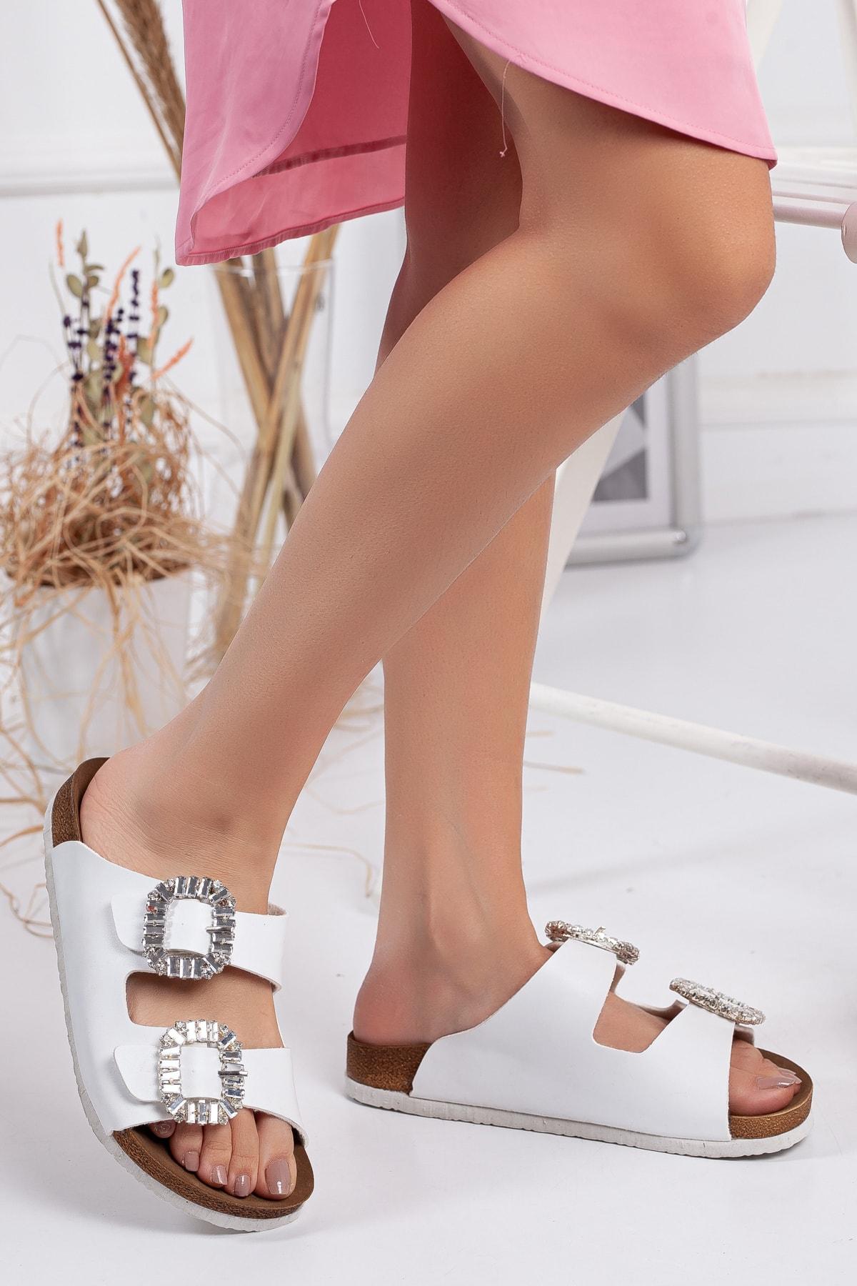 النساء الصنادل الكريستال وايتون مزدوجة مشبك الصيف داخلي في الهواء الطلق الوجه يتخبط حذاء الشاطئ النعال الإناث منصة عادية