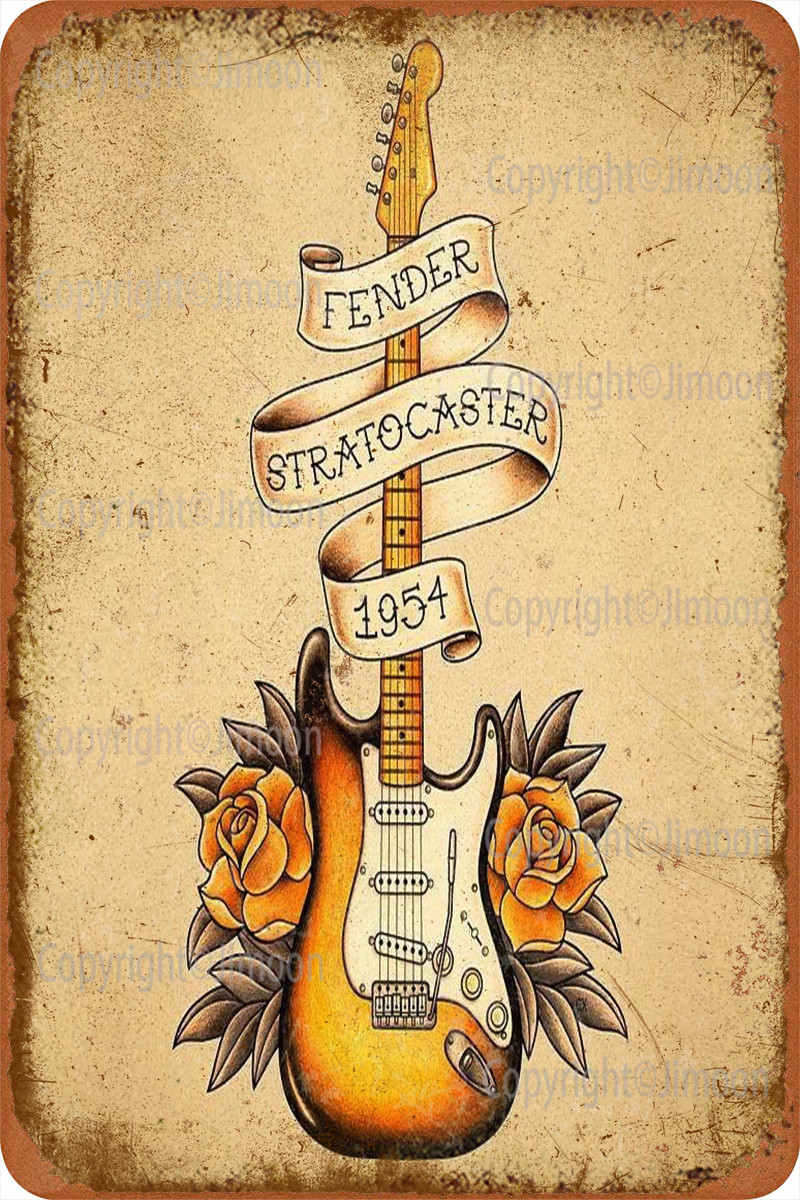 Fender Stratocaster 1954 señal Metal lata decoración de pared divertido para la...