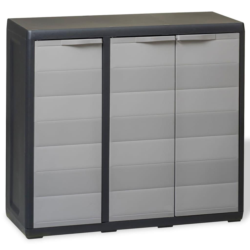 Открытый шкафчик для патио, большие шкафы для хранения, садовый шкаф с 2 полками, черный и серый цвета шкафы с полками ширина 90 см