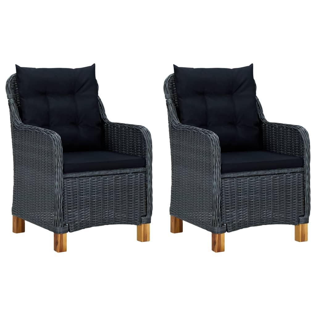 Уличные стулья для патио, комплект мебели для крыльца, садовый декор с подушками, 2 шт., темно-серый