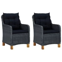 outdoor patio chairs deck porch outside furniture set garden lounge decor with cushions 2 pcs dark gray