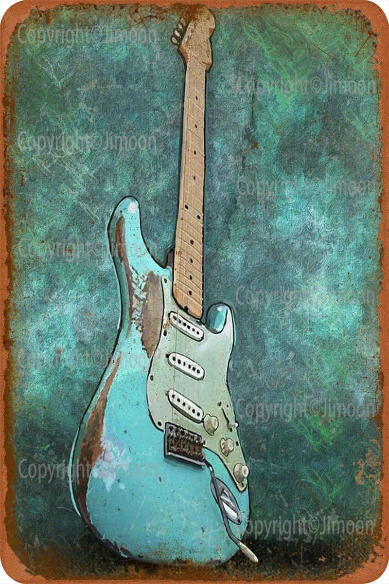 Fender Stratocaster-carteles de estaño de arte vintage, placas de metal retro, póster...