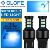 2x 7443 7440 led 8k ice blue reverse backup brake tail stop parking light bulbs