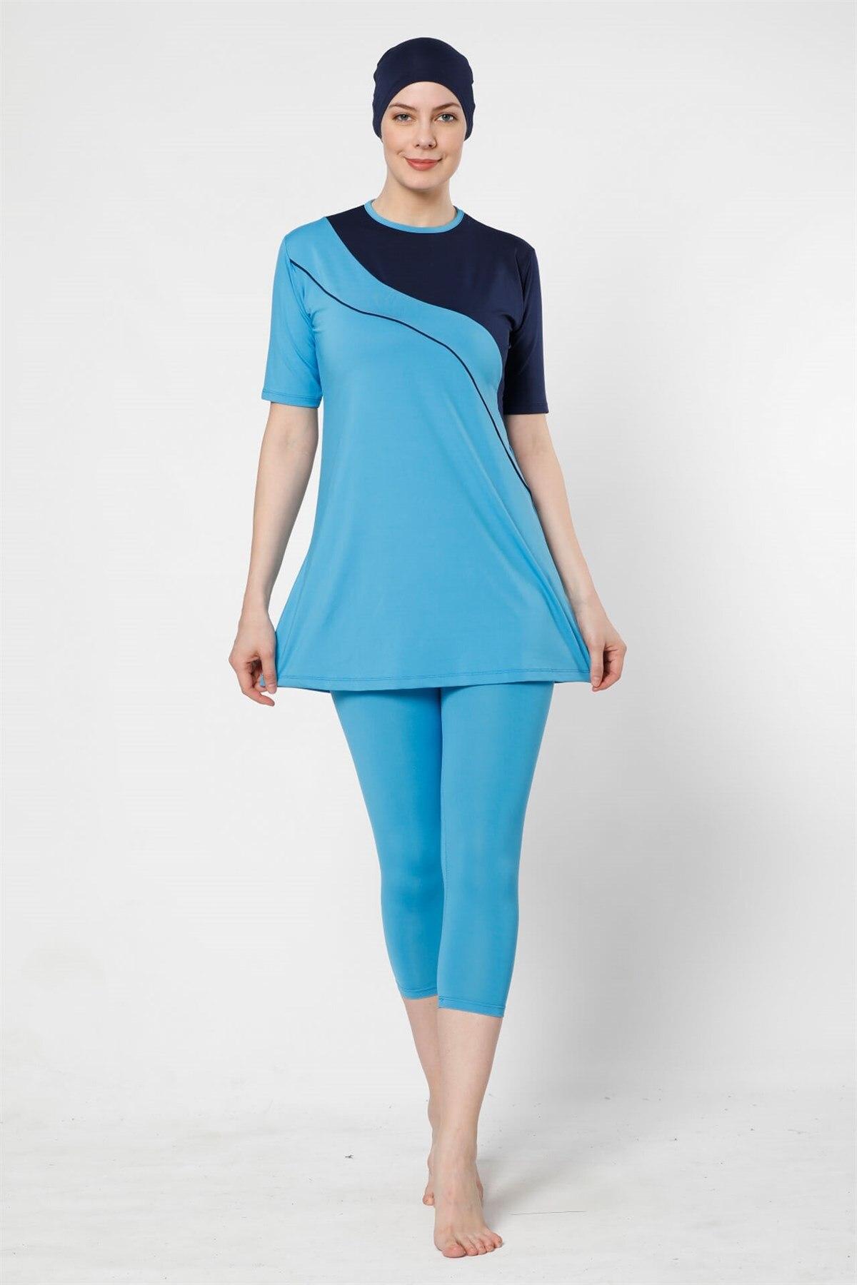 Fashion Cartoon Half Off The Tights Lycra Short Sleeve Hijab swimwear 28019