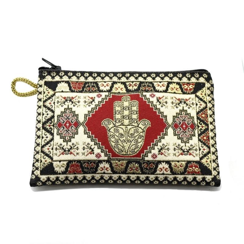 AliExpress - BDM-Turkish fabric purse with zipper and Fatima hand, choose your favorite color