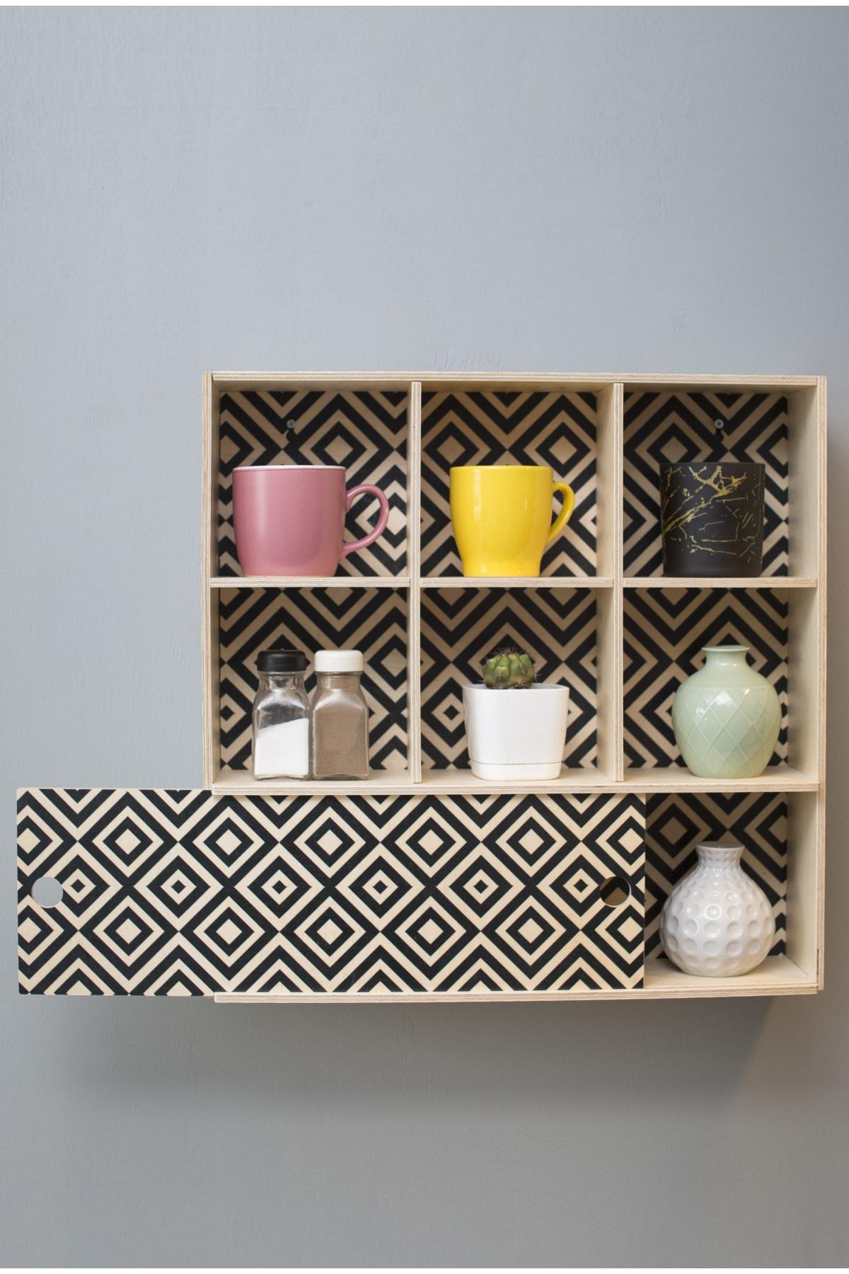 خشب أسود رف جدار X نموذج Plaıd رف مطبخ صندوق تخزين رف حمام غرفة الطفل رف