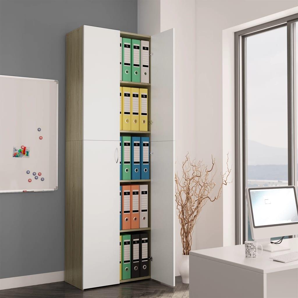 Высокие настенные офисные шкафы для хранения файлов для дома и офиса, белые и дубовые шкафы Sonoma 23,6x12,6x74,8 дюйма из ДСП шкафы витрины стеклянные для офиса