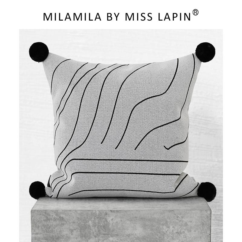 ملكة جمال LAPIN جميل بوم بوم غطاء الوسادة تيار خط مطرزة مصمم رمي غطاء وسادة