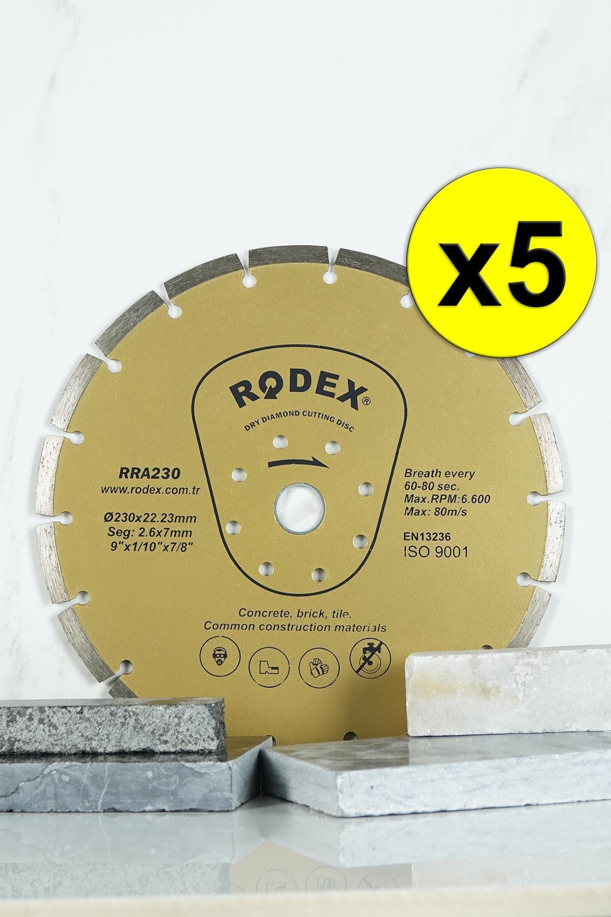 Rodex RRA230 Socketed Type Diamond Cutting Disc for Bricks, Granite, Marble 230mm 5 Pcs