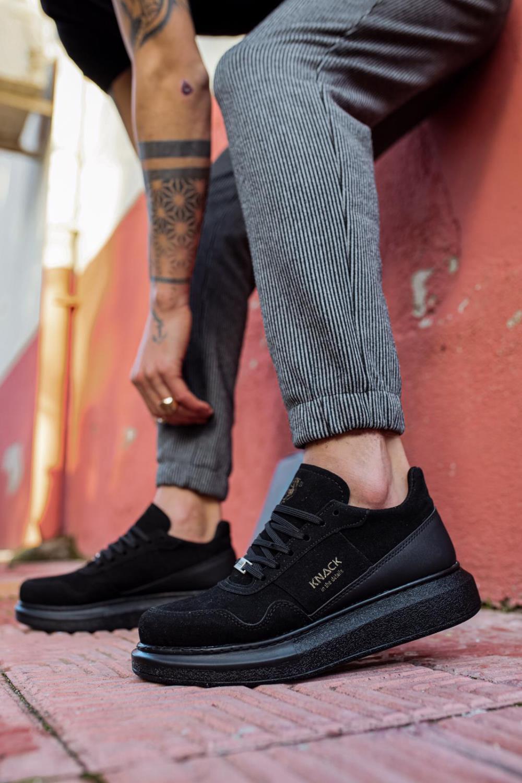 Knack Casual Zapatos de gamuza para hombre Negro Cuero sintético Costura alta...