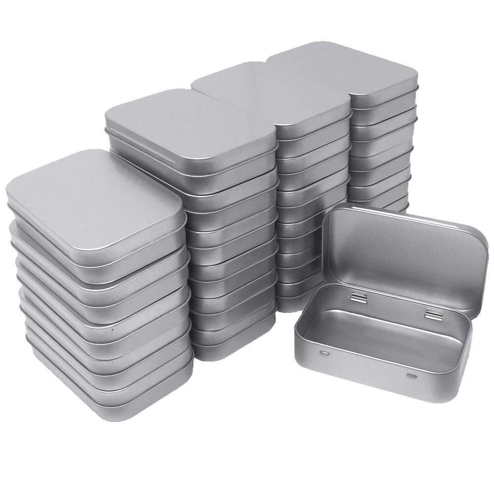 24 حزمة معدنية مستطيلة فارغة متمحور علب حاويات مربعة صندوق قابل للحمل صغير تخزين عدة منظم منزلي 3.75 by 2.45 by