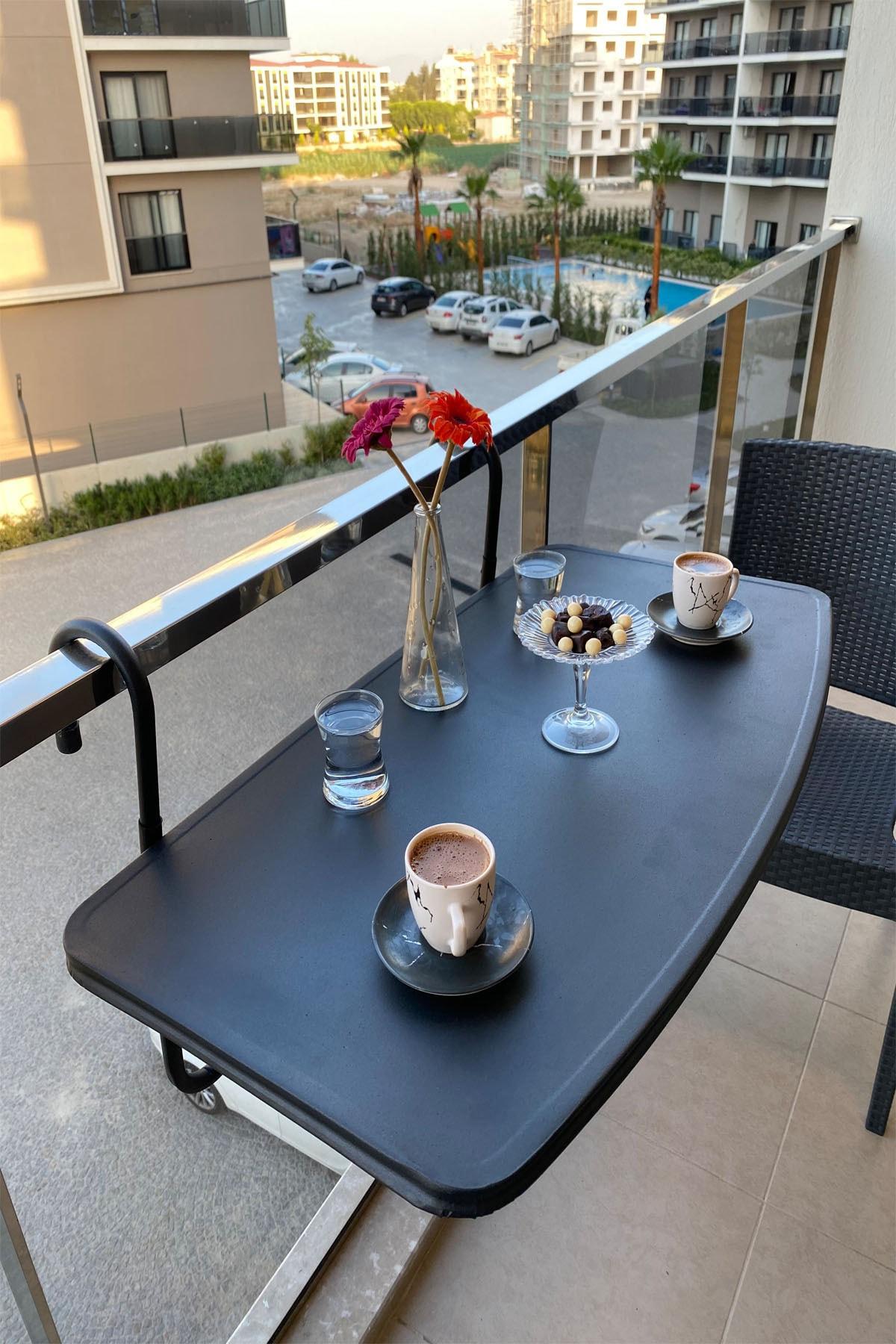 Складной стол для балкона, подвесной с балкона, железный, черный