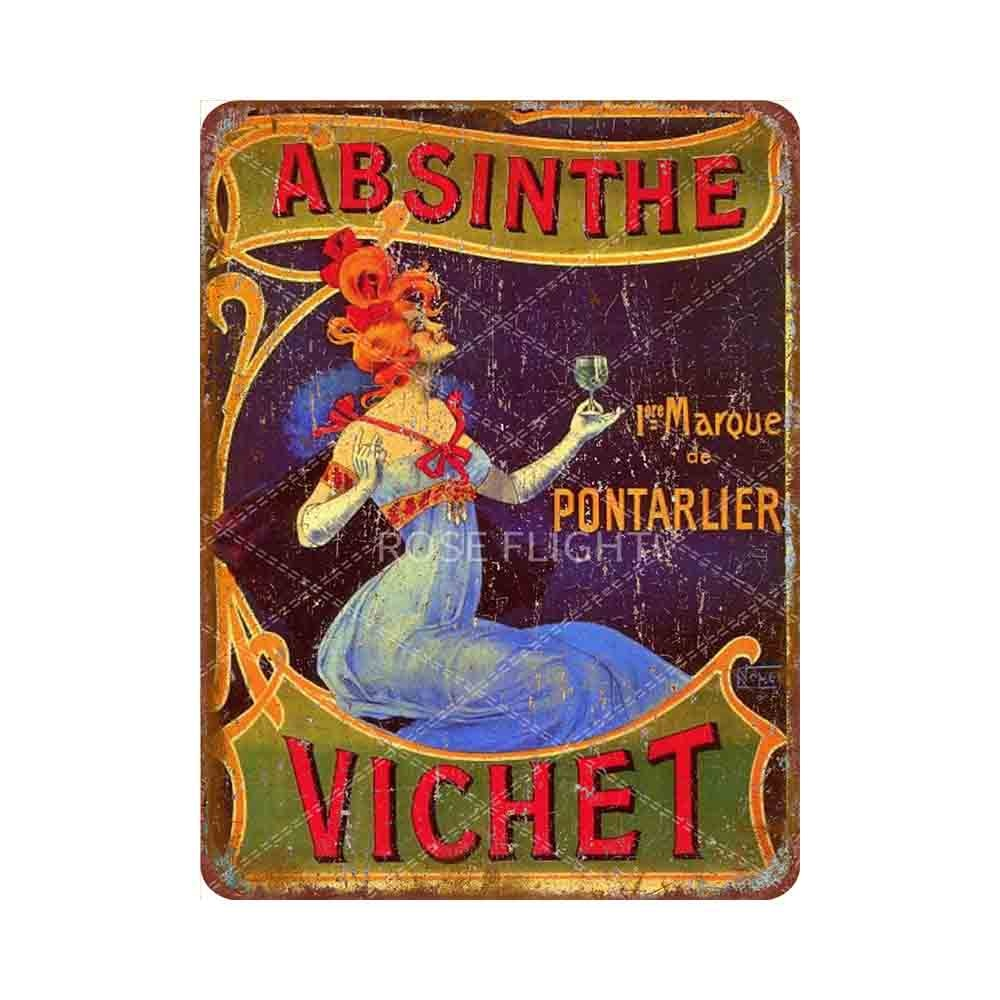 Absinthe Metal tin sign retro style poster home decoration hotel club outdoor 8 X12 inch