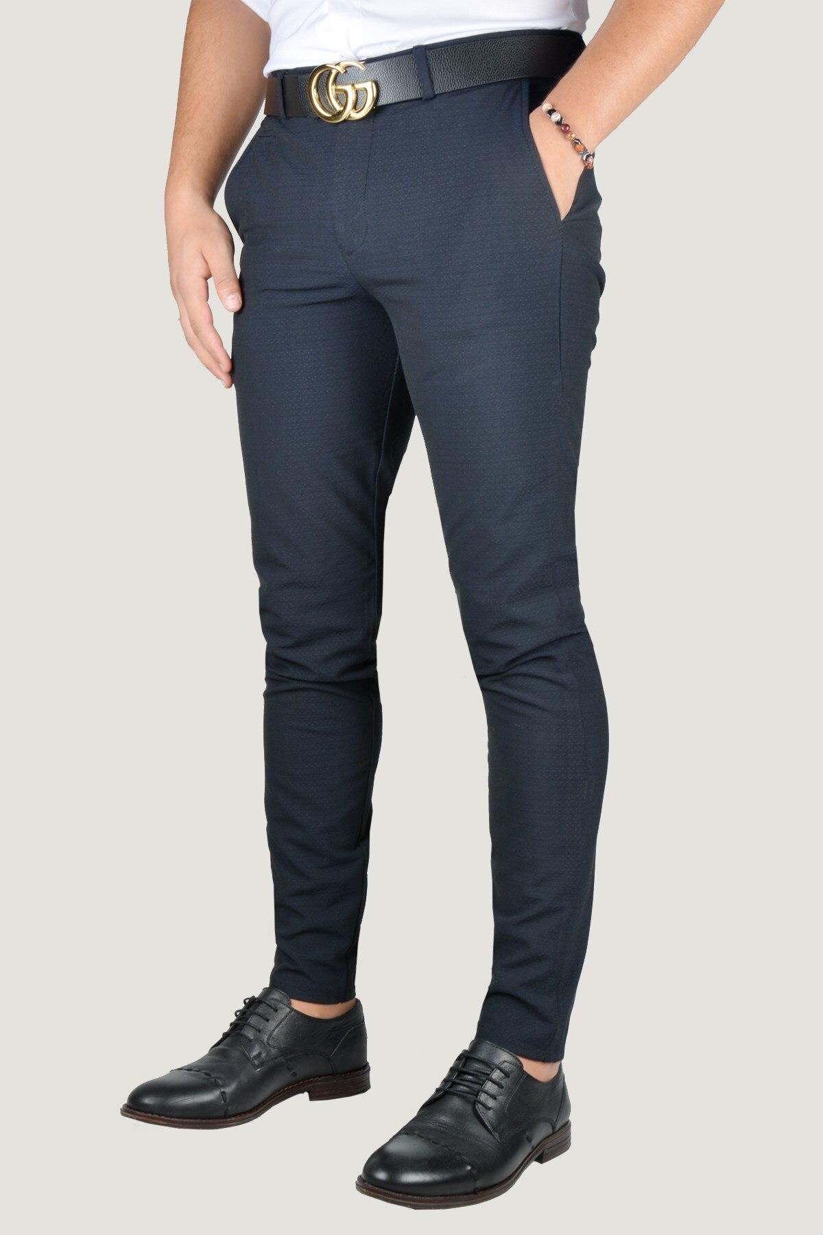 Мужские льняные брюки 9Y-2200196-008 темно-синие