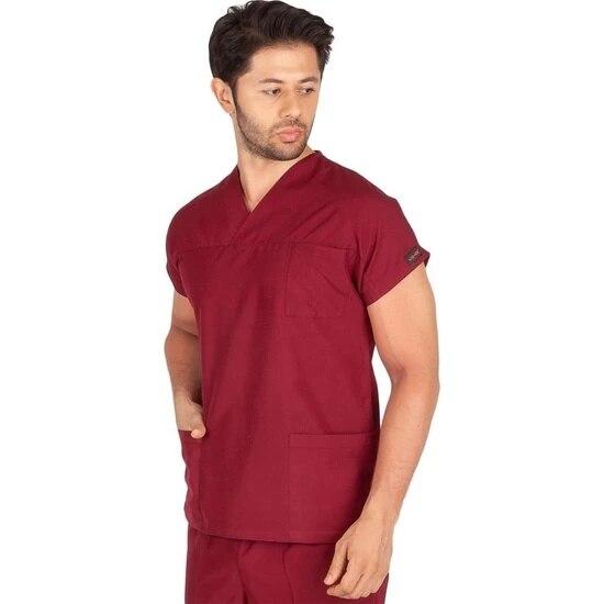 Male Doctor Nurse Uniform Scrubs Terikoton Thin Fabric Hospital Guard Suit Surgical Forma (Envelope Collar Bat) Medical Uniforms surgical forma women khaki green terikoton fabric