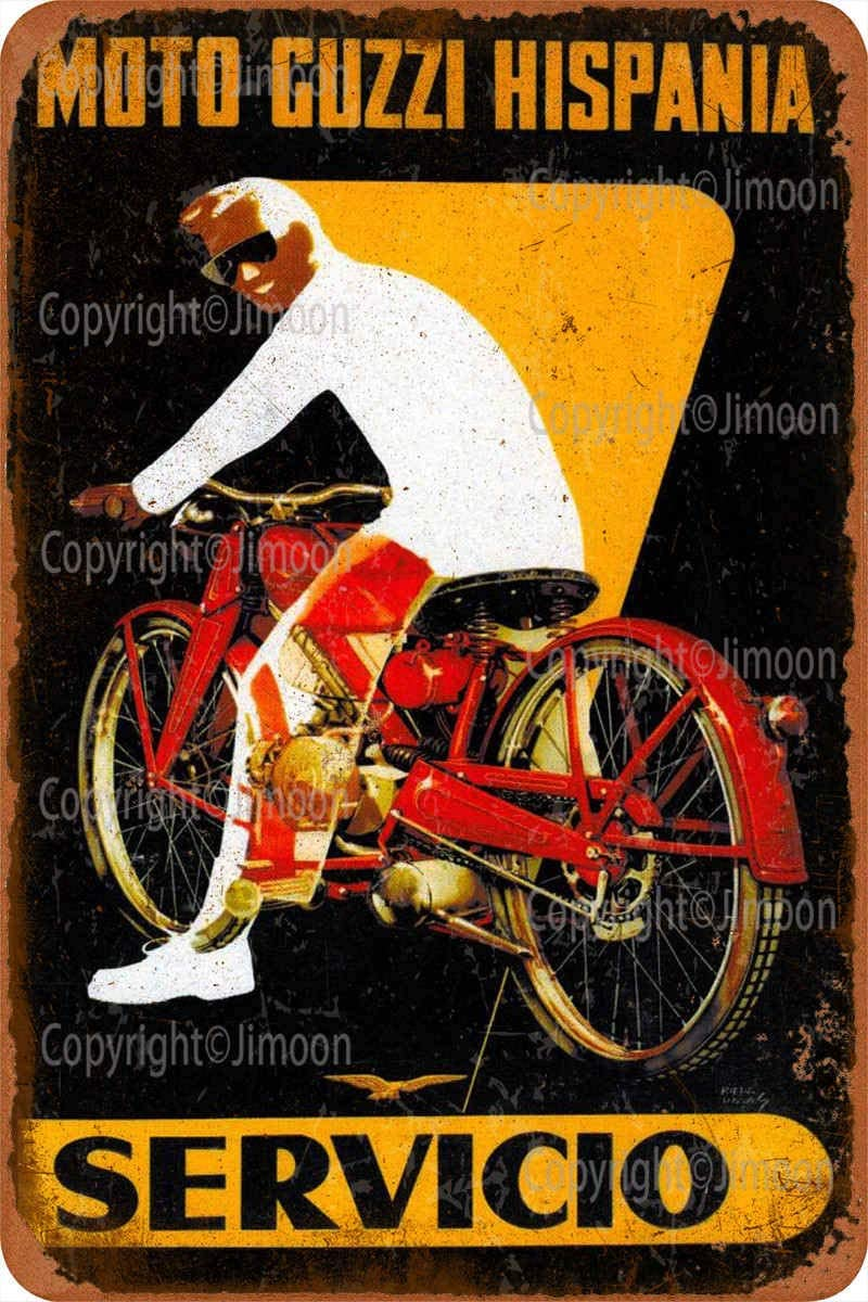 Moto Guzzi Hispania Servicio cartel de hojalata Vintage arte de pintura Rusty decoración de carteles de aluminio de placa