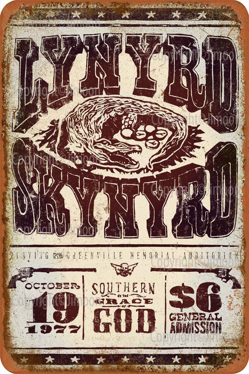 Lynyrd Skynyrd señal Metal lata decoración de pared divertido para la decoración...