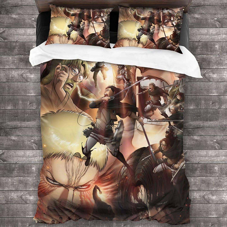 طقم سرير من 3 قطع ناعم للغاية هجوم على شخصية تيتان طقم ملصق مع 1 طقم لحاف 2 غطاء وسادة للنساء أريكة السرير
