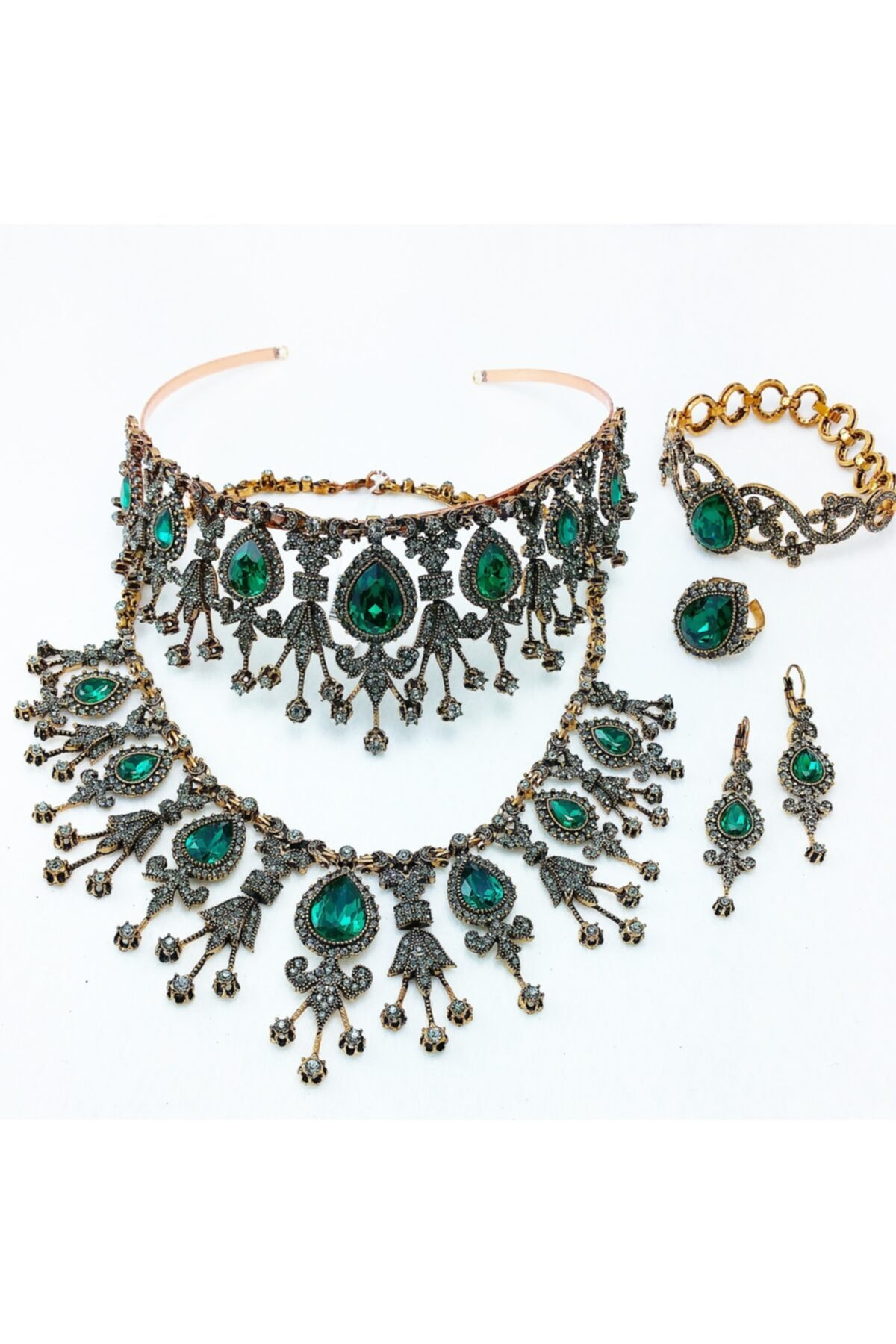 مجوهرات الأزياء النسائية الماس شنت الزمرد قطرة المختنق ومجموعات التاج