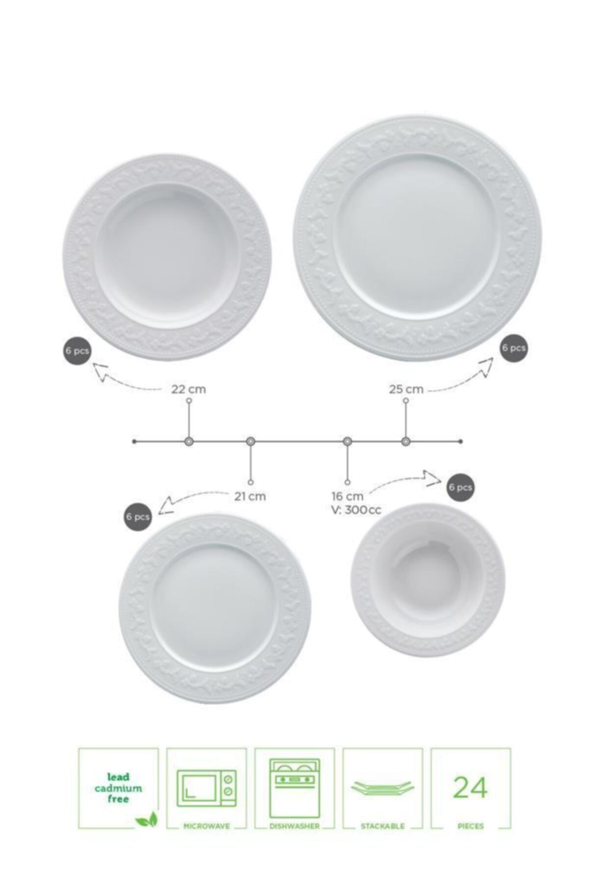 Luxury new model new dinnerware set dish set Silvia Dinnerware Set 24 Piece dinnerware enlarge