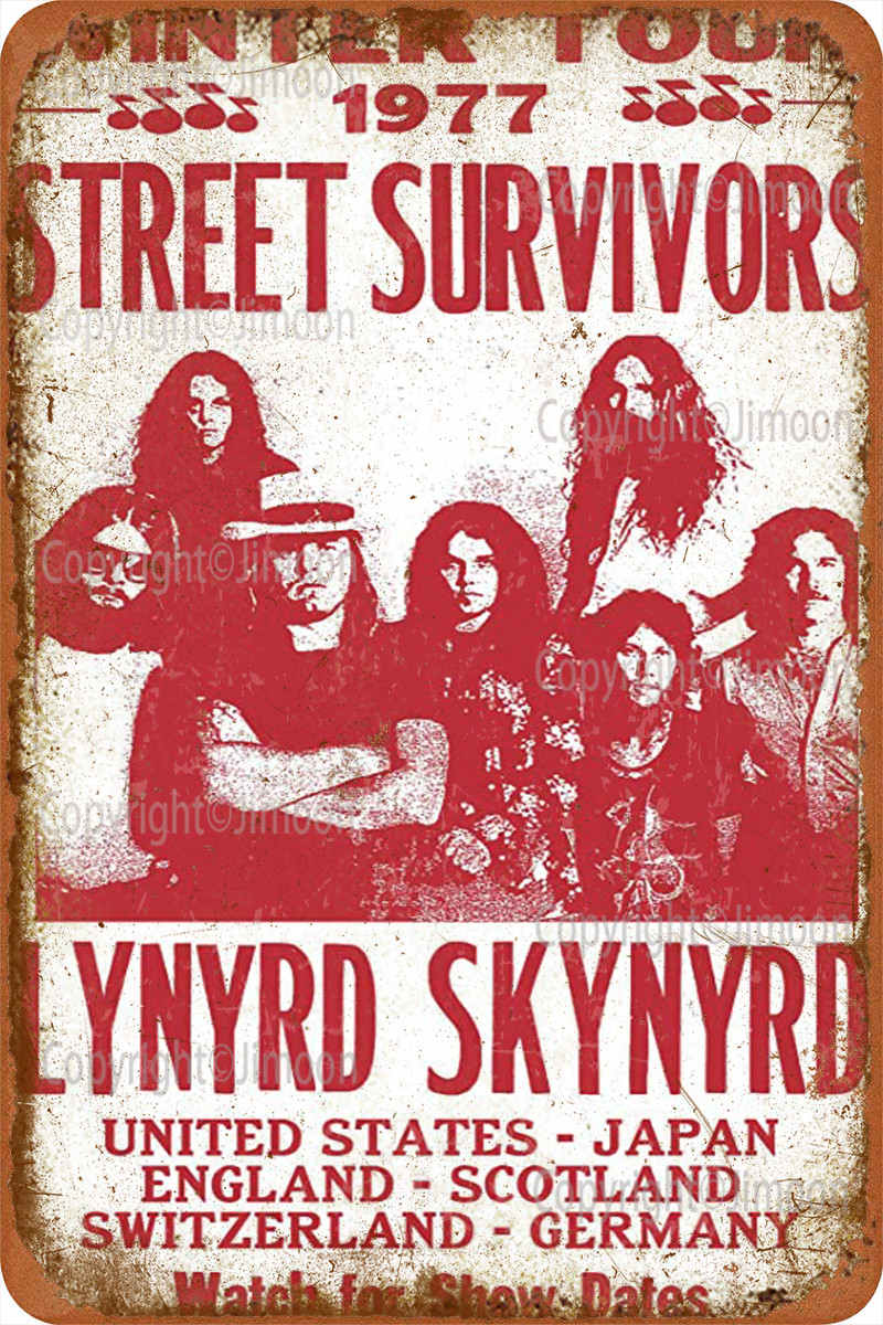 Lynyrd Skynyrd calle sobrevivientes señal Metal lata decoración de pared divertido para...