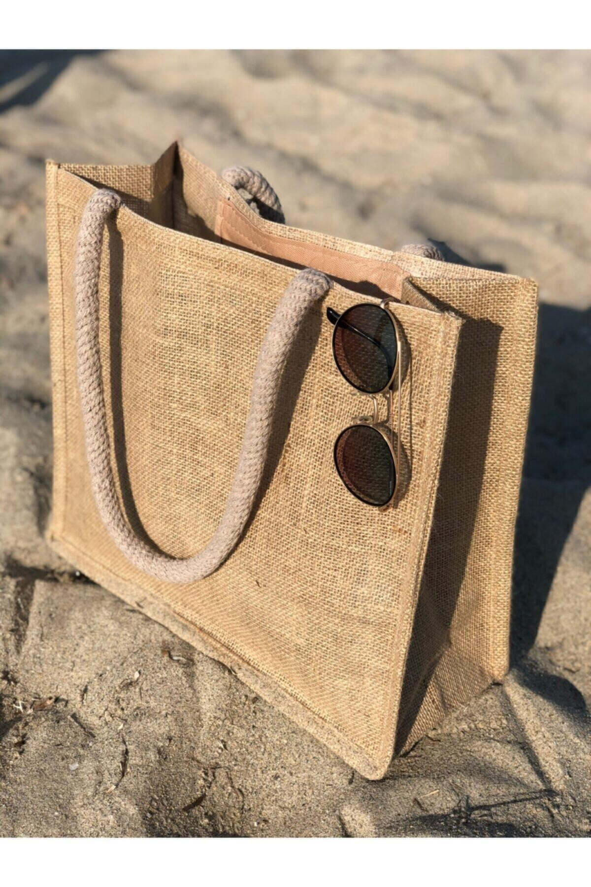 Women's Brown Wicker Round Rope Strap Beach Bag/ Muslim clothing / Islam / Muslim fashion Turkey / h